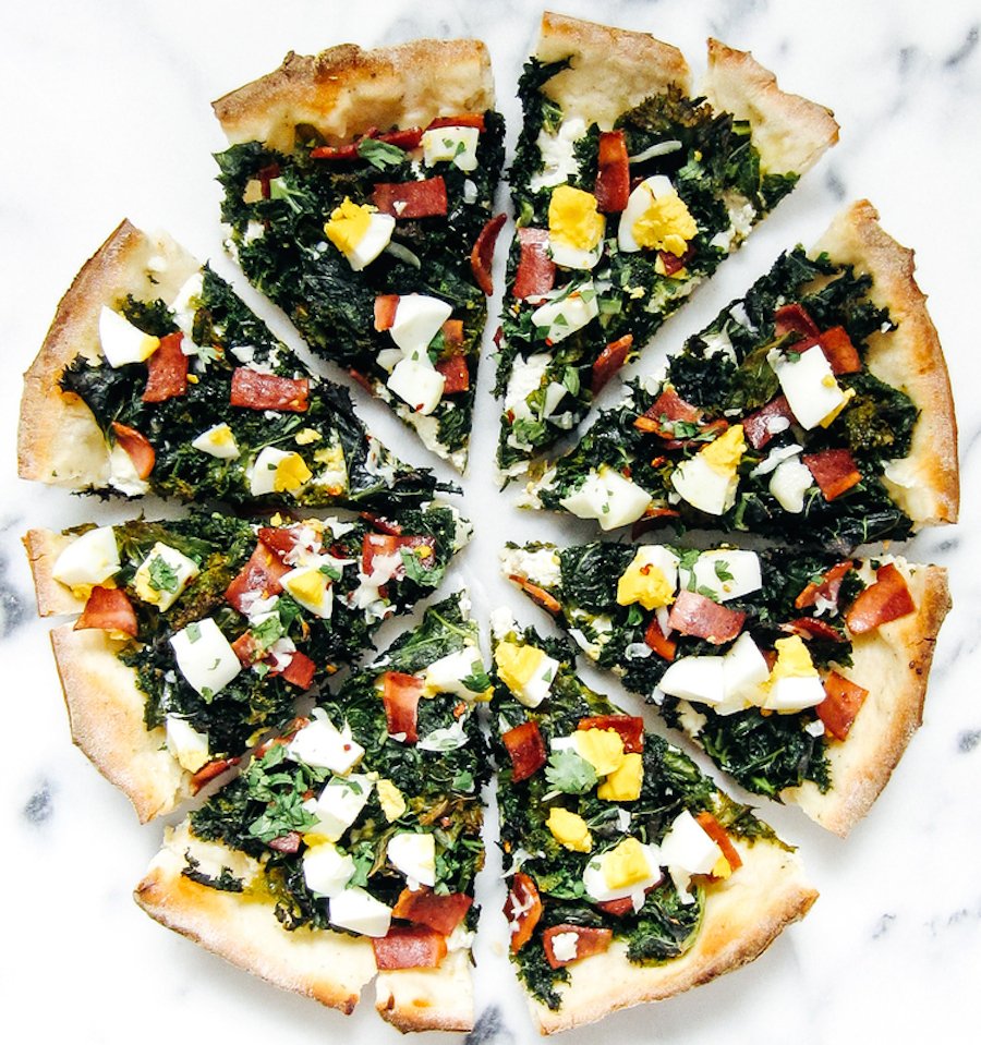 """<strong>Get the <a href=""""http://www.baconeggcheesecake.com/blog/kale-and-ricotta-breakfast-pizza"""">Kale & Ricotta Breakfast Pi"""