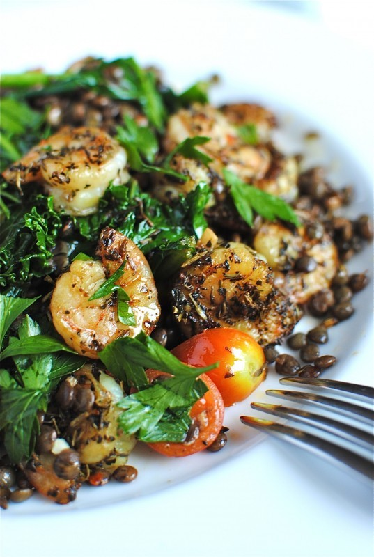 """<strong>Get the <a href=""""http://bevcooks.com/2011/08/french-lentils-with-kale-and-shrimp/"""" target=""""_blank"""">French Lentils wit"""