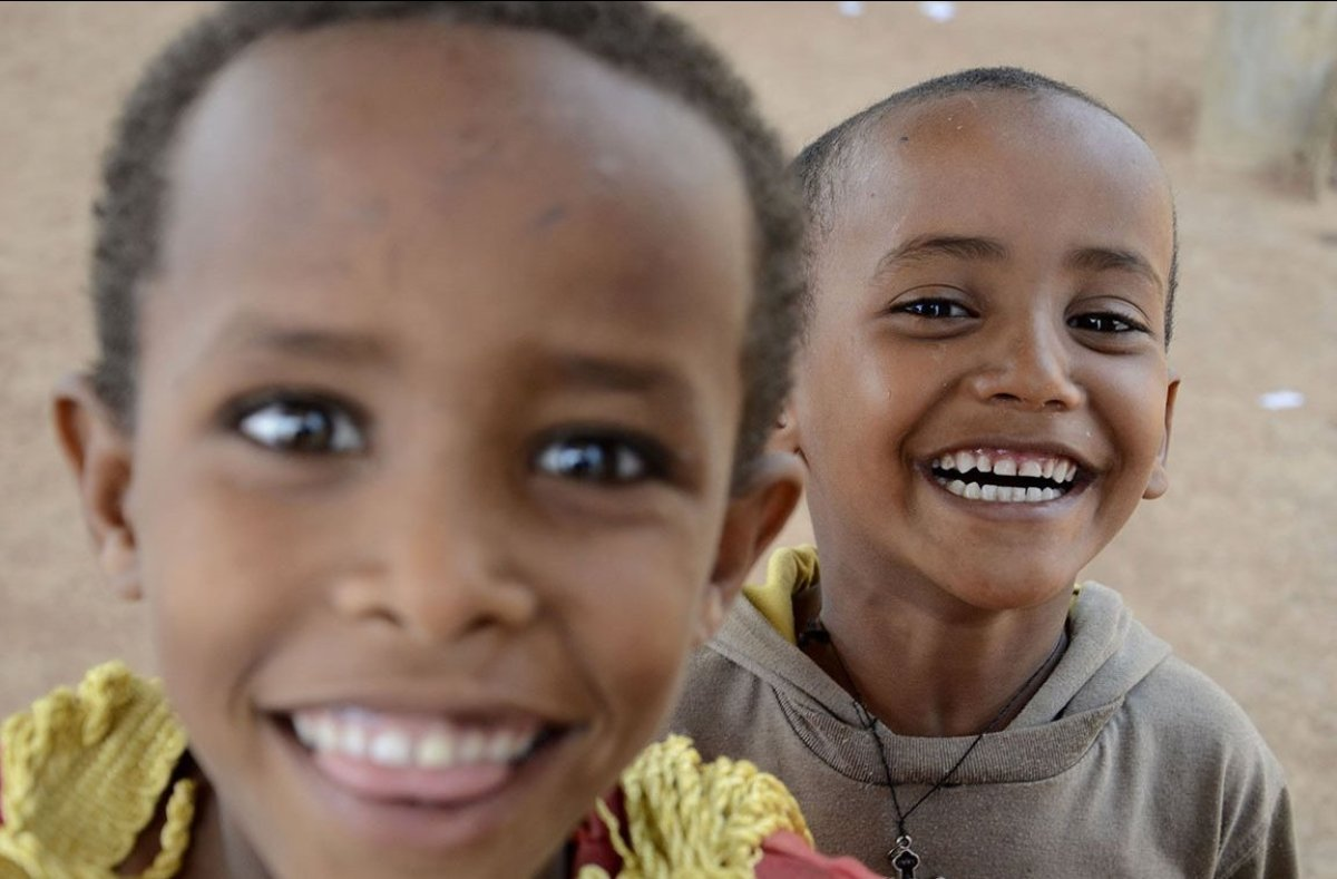 Young refugees from Eritrea at Mai Aini refugee camp in Ethiopia. An unusual feature of the Mai Aini camp population is the y