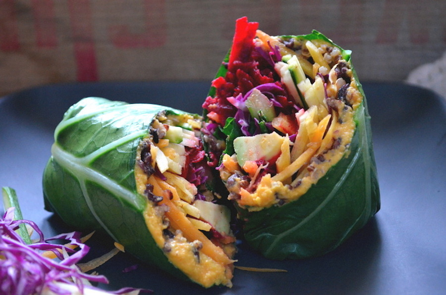 "<strong>Get the <a href=""http://dinnerwithaura.com/collard-green-wrap-with-carrot-ginger-hummus-and-rainbow-veggies/"">Collard"