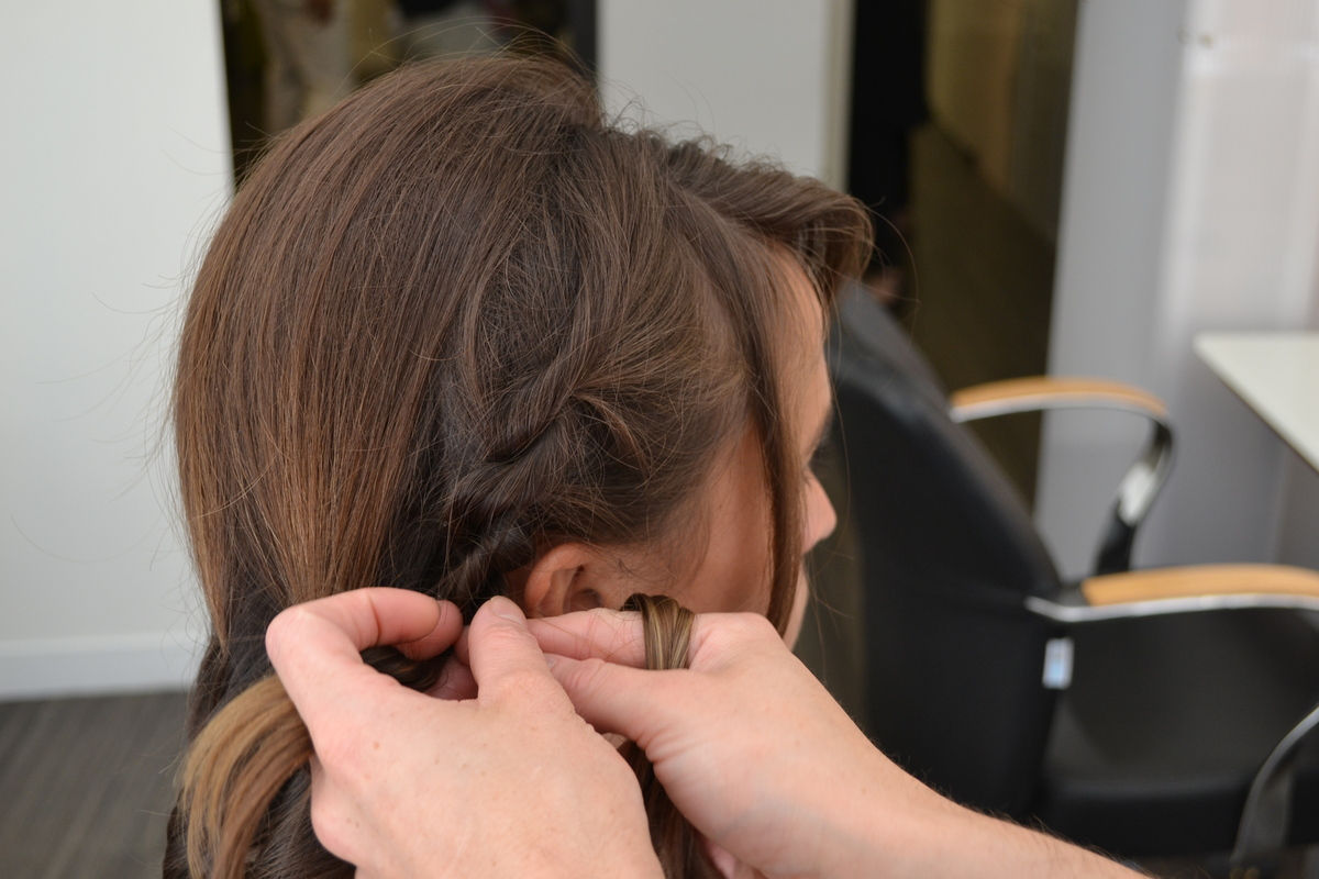 Take the front side section, create two flat twists and then combine to make one twist.