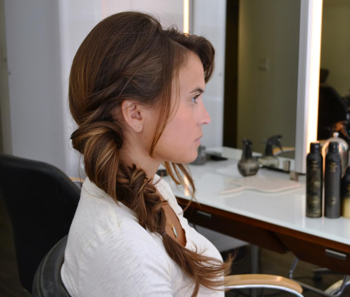 "Finish off with a light hair spray, such as <a href=""http://www.amazon.com/Oribe-Superfine-Strong-Spray-Unisex/dp/B0045K9Y94"""
