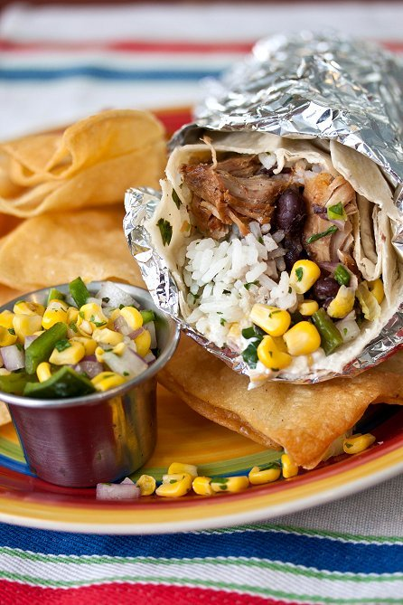 "<strong>Get the <a href=""http://tideandthyme.com/carnitas-burritos/"" target=""_blank"">Carnitas Burritos with Poblano-Corn Sals"