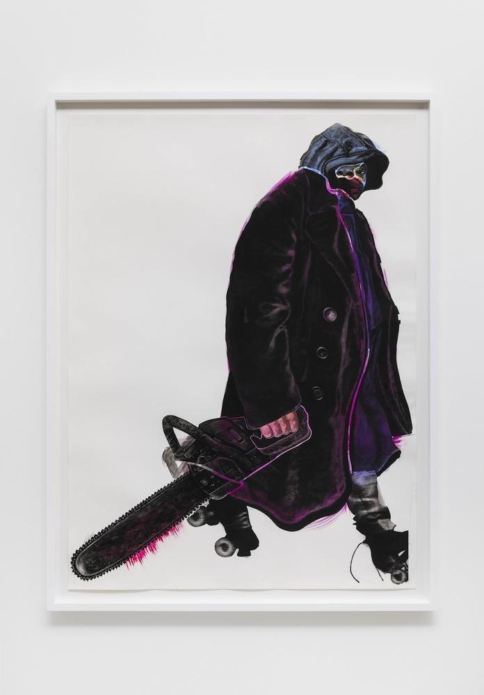 """Chainsaw Master, 2014 black charcoal, oil-pastel, oil-paint, paint-stick, gouache on Lenox Paper 152.4 cm x 111.8 cm (60"""" x 4"""
