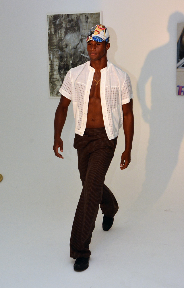 NEW YORK, NY - SEPTEMBER 05:  A model walks the runway during the Martin Keehn presentation at Ludlow Studios on September 5,
