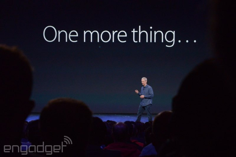 """After introducing the iPhone 6 and iPhone 6 Plus, Tim Cook used Steve Jobs's iconic """"one more thing"""" phrase to introduce Appl"""