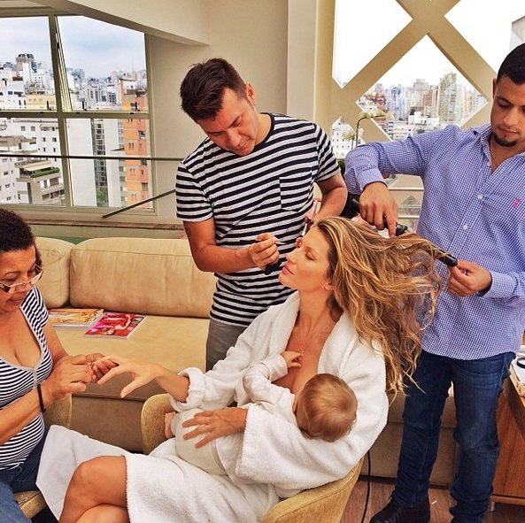 "In 2010, Bundchen <a href=""http://www.usmagazine.com/celebrity-moms/news/gisele-bundchen-mandatory-breastfeeding-should-be-a-"