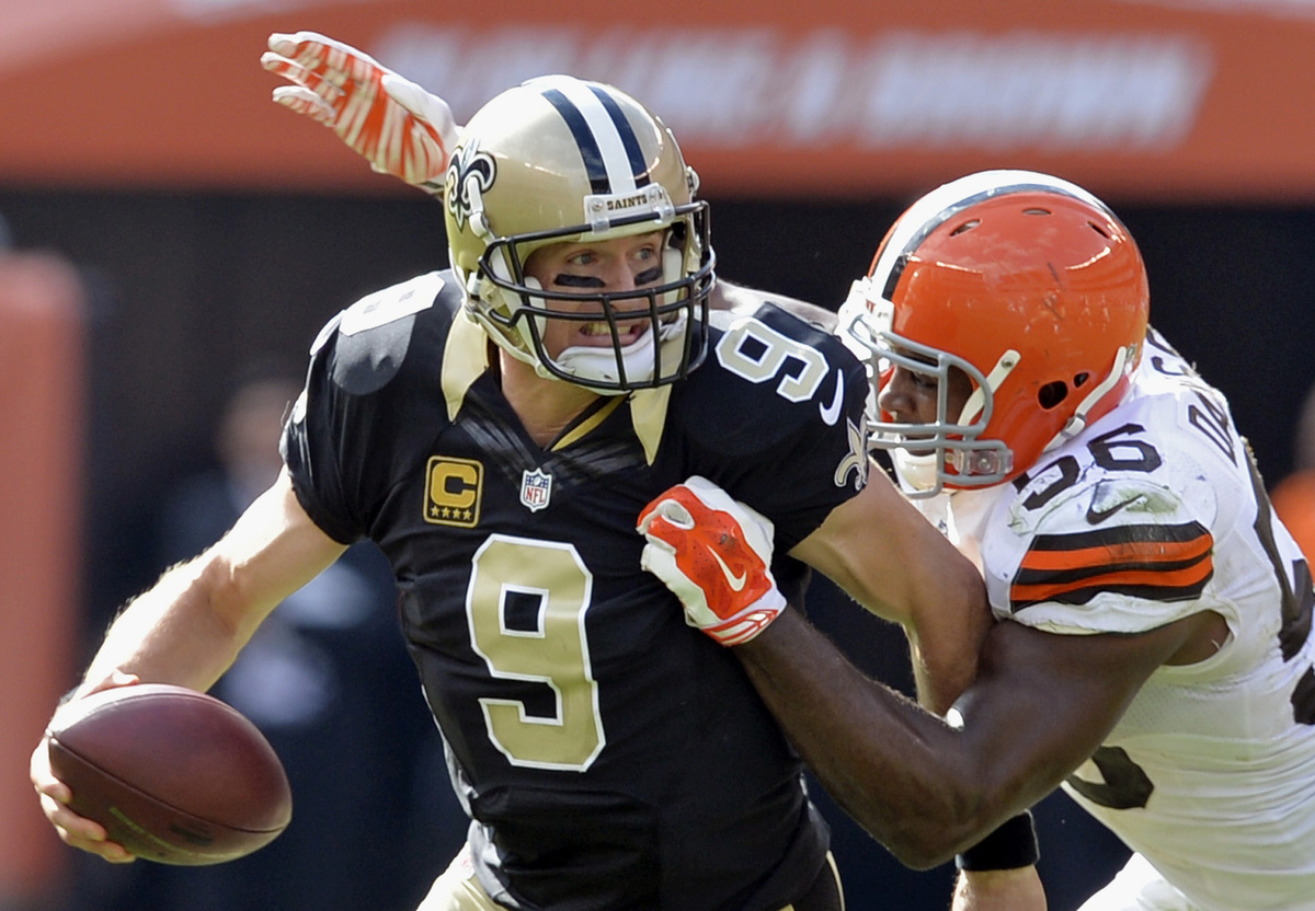Cleveland Browns linebacker Karlos Dansby (56) sacks New Orleans Saints quarterback Drew Brees in the fourth quarter of an NF