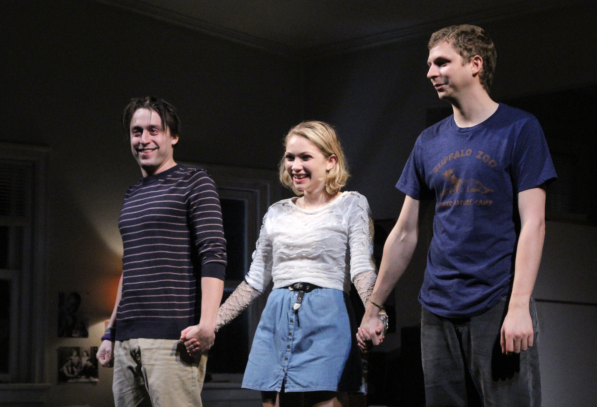 NEW YORK, NY - SEPTEMBER 11:  (L-R) Kieran Culkin, Tavi Gevinson and Michael Cera take their The Opening Night Curtain Call f