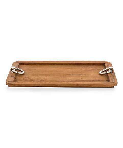 """Wood Serving Tray with Polished Chrome Handles, from <a href=""""http://www.sedgwickandbrattle.com/"""" target=""""_blank"""">Sedgwick &"""