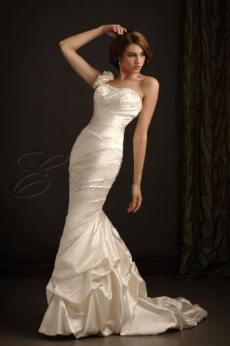 "Get it at <a href=""http://www.ebridalgowns.ca/mermaid-satin-asymmetrical-ruched-bodice-scooped-neckline-sweep-train-wedding-d"