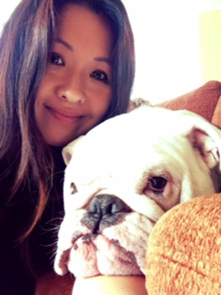 Annamarie Pineda-Lin with Porky.