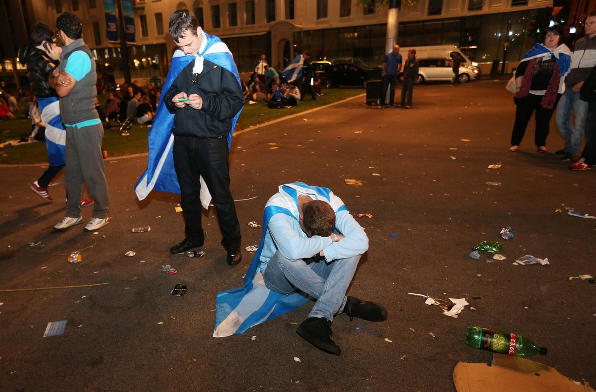 Yes campaign supporters in George Square, Glasgow, as Scotland has rejected independence, despite the Yes campaign winning a