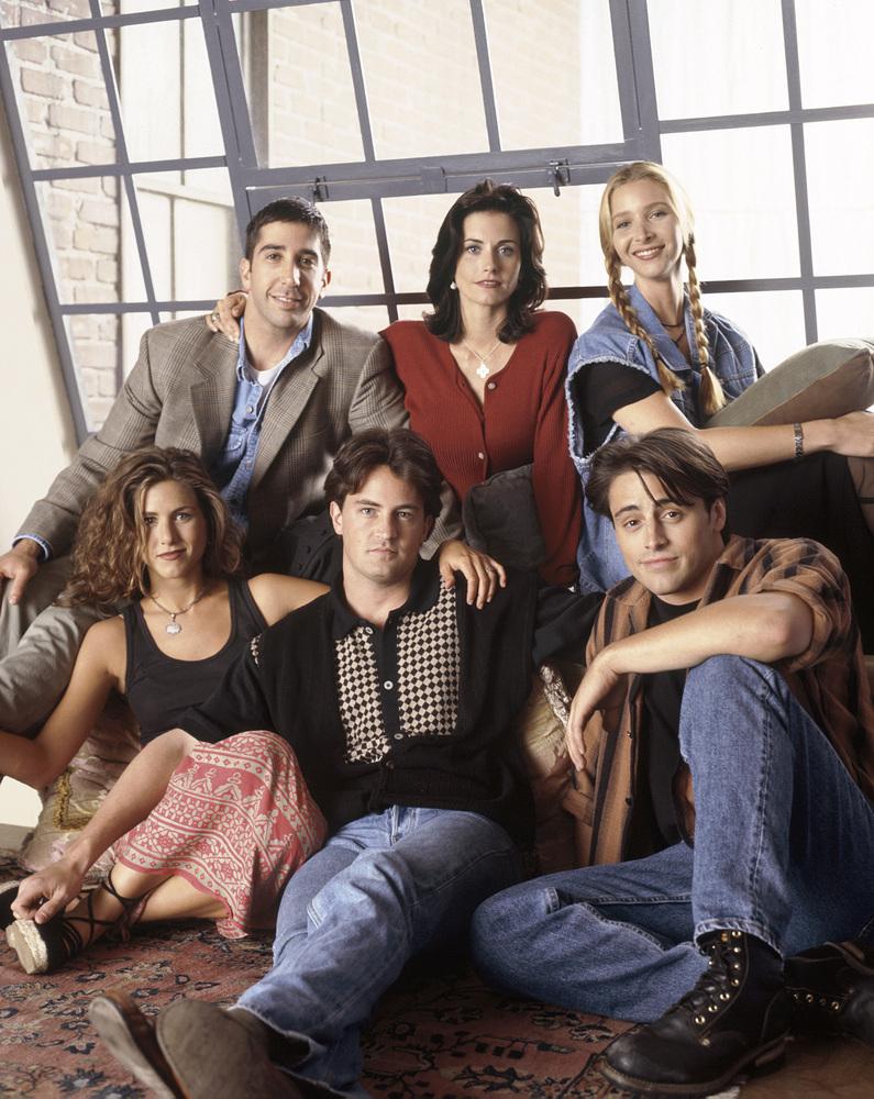 FRIENDS -- Pictured: (clockwise from bottom left) Jennifer Aniston as Rachel Green, David Schwimmer as Ross Geller, Courteney