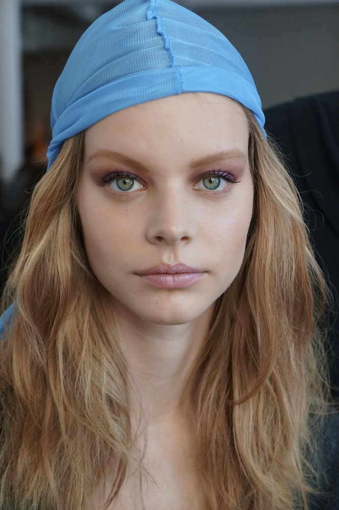 Pretty violet eyes and beachy waves at Derek Lam. Do-rags kept crowns smooth.