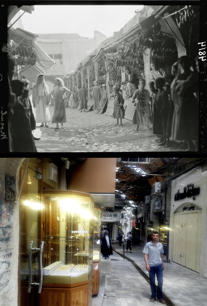 This combination of two photographs shows a 1932 image of Iraqi vendors and customers in the shoe market in Mosul, northern I