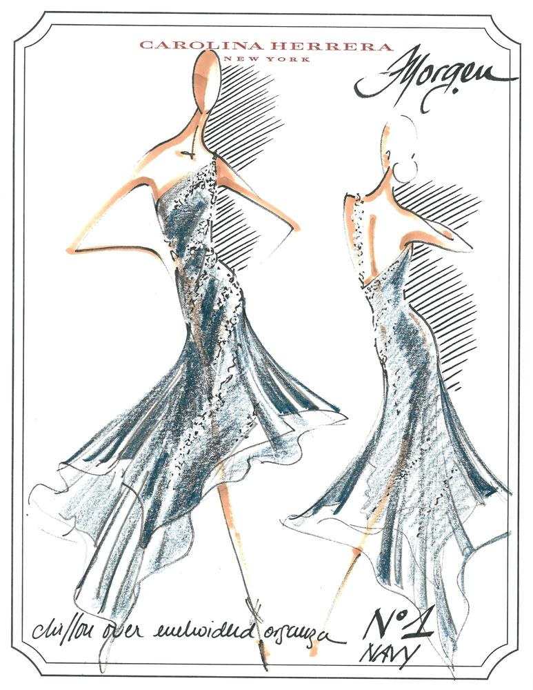 A Carolina Herrera sketch for a costume for <em>Morgen</em>, the 2001 ballet choreographed by Peter Martins that will be perf