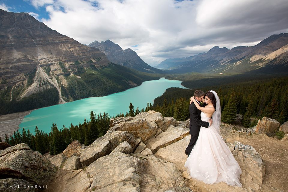 """""""My husband and I recently eloped on a summit at Peyto Lake in Alberta, Canada."""" - Amanda Richter"""