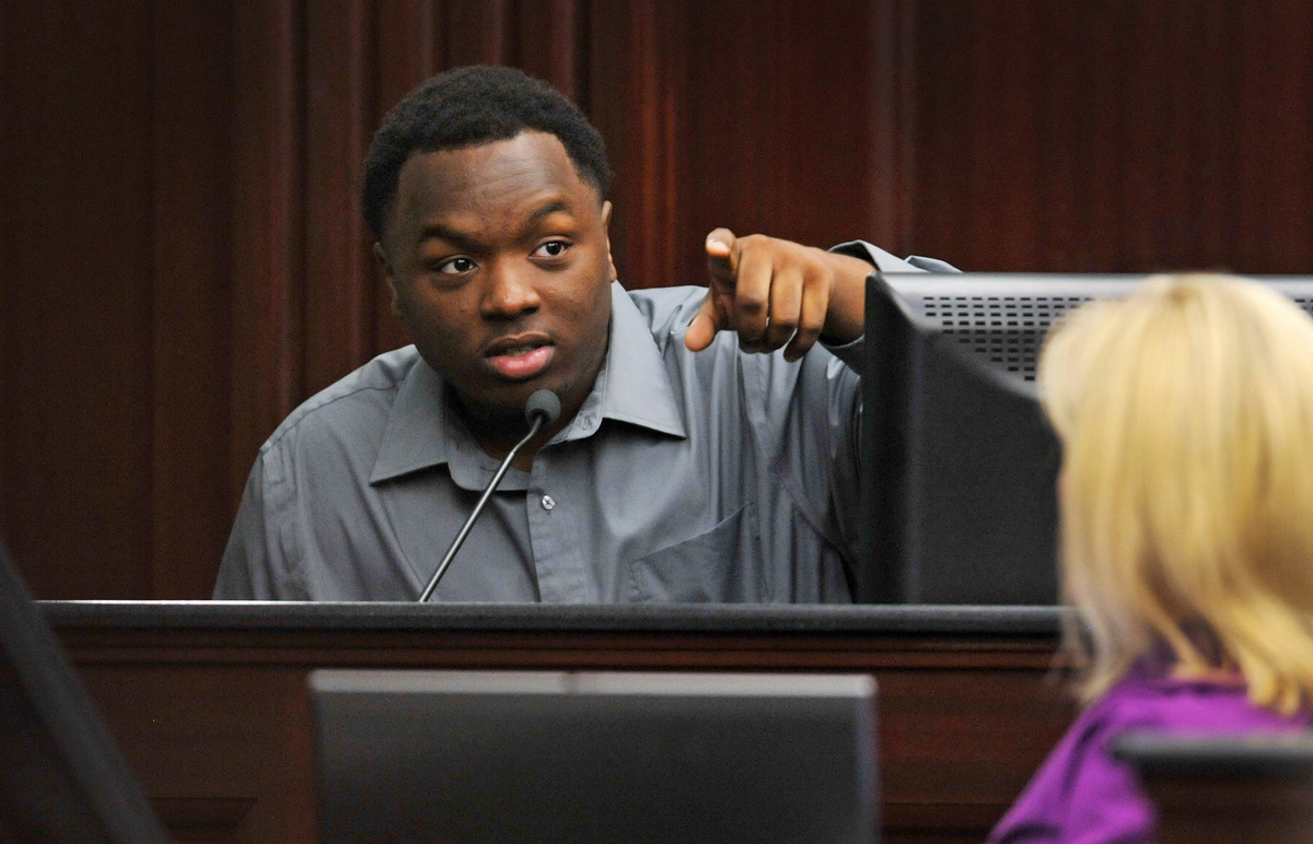 Tevin Thompson, one of the three teens in the vehicle with Jordan Davis testifies during the trial of Michael Dunn on Friday,