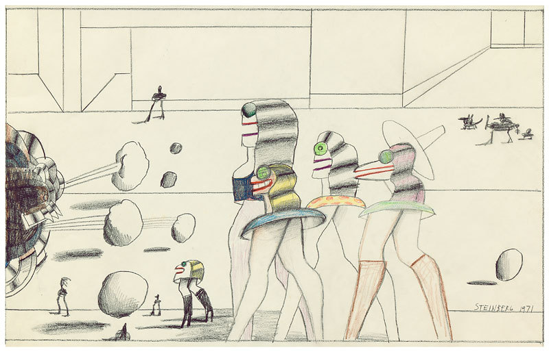 Untitled, 1971 Pencil and colored pencil on paper, 13 ¼ x 22 ¾ in. Framed History   Published: The New Yorker, February 24, 1