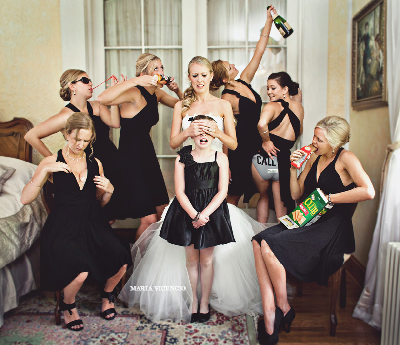 18 wedding ideas that will only appeal to the most awesome of this photo with your maids and the flower girl junglespirit Image collections