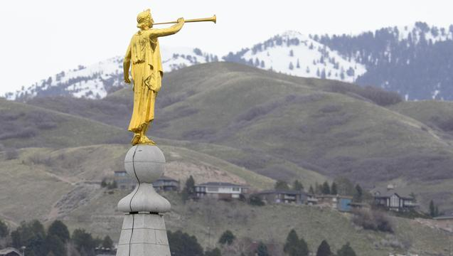 The statue of the Angel Moroni on top of the Salt Lake Temple in Utah.