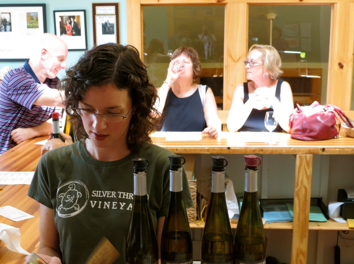 Owner Shannon Brock in the tasting room at Silver Thread Vineyard    Photo: Peter Verbrugghe