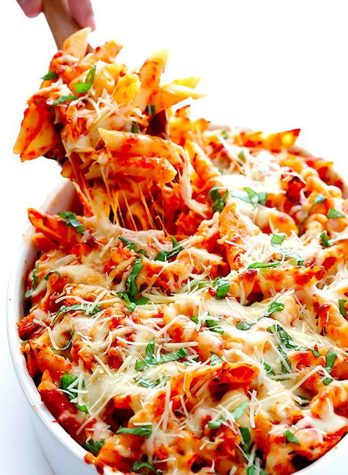 "<strong>Get the <a href=""http://www.gimmesomeoven.com/chicken-parmesan-baked-ziti-recipe/"" target=""_blank"">Chicken Parmesan B"