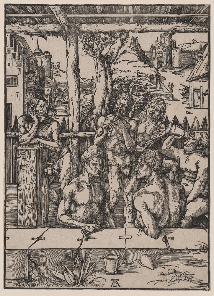 Albrecht Durer, The Men's Bath, ca. 1498, Woodcut, 14.438 x 11.125 in. New York Public Library.