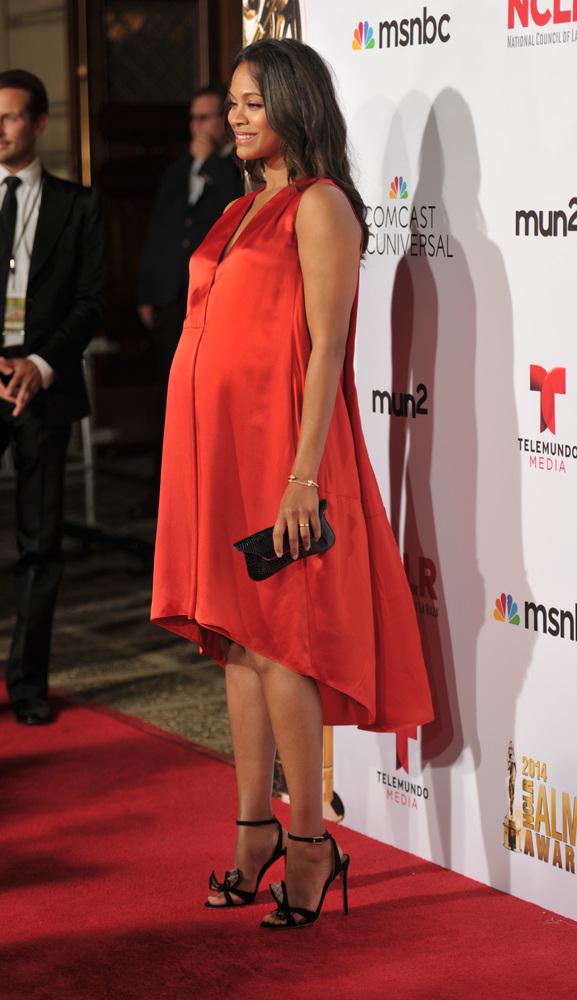 Zoe Saldana arrives at the NCLR ALMA Awards at the Pasadena Civic Auditorium on Friday, Oct. 10, 2014, in Pasadena, Calif. (P