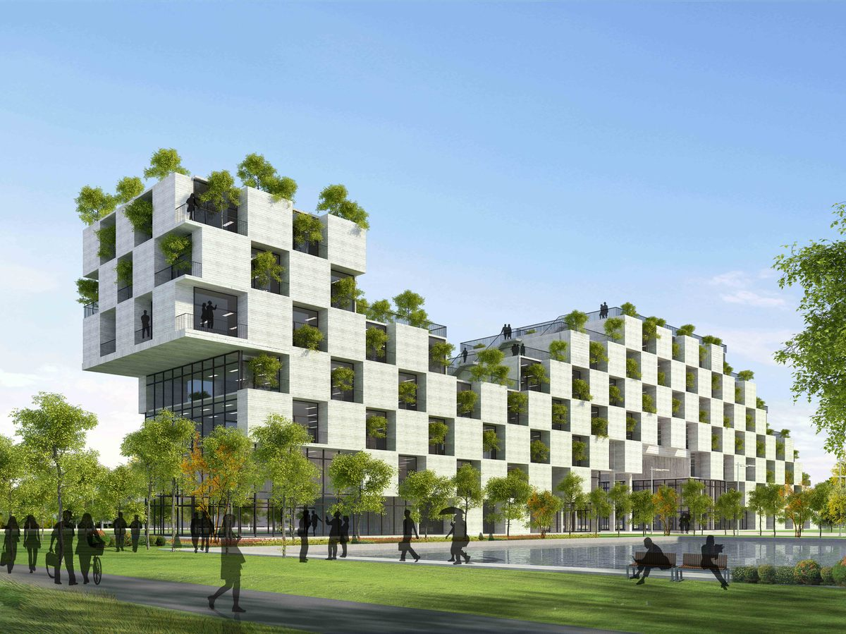 architectural building designs. \u003cstrong\u003eFPT Technology Building By Vo Trong Nghia Architects.\u003c\/strong\u003e Architectural Designs L