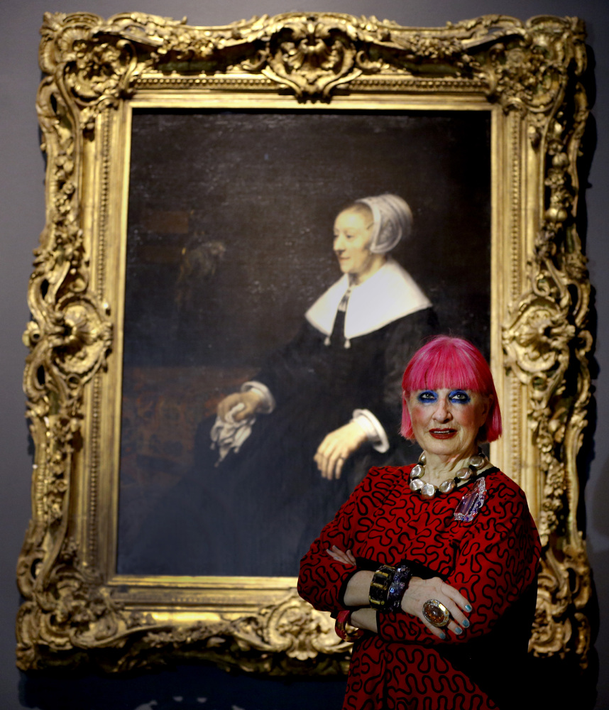 Fashion designer Zandra Rhodes stands by Rembrandt's painting, Portrait of Catrina Hooghsaet,1657 during a media event at The