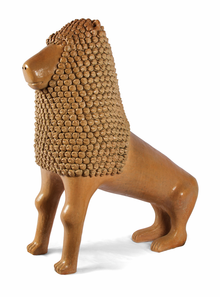 """Manoel Gomes Da Silva """"Nuca"""" Lion, 2011Modeled clay, smoothed, with appliqué and varnishedTracunhaém, Pernambuco, BrazilI"""