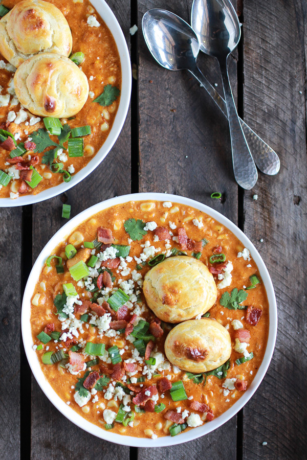 """<strong>Get the <a href=""""http://www.halfbakedharvest.com/buffalo-chicken-corn-chowder-with-blue-cheese-gougeres/"""" target=""""_bl"""