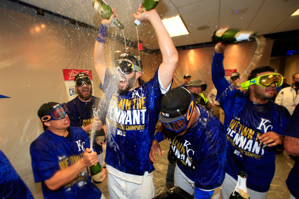 KANSAS CITY, MO - OCTOBER 15:  Eric Hosmer #35 of the Kansas City Royals celebrate in the locker room after their 2 to 1 win
