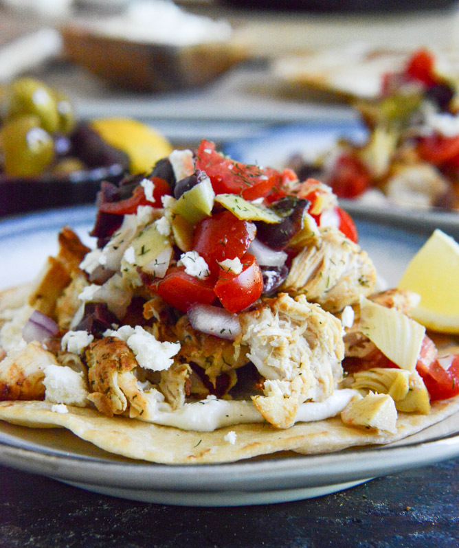 """<strong>Get the <a href=""""http://www.howsweeteats.com/2013/06/marinated-greek-chicken-tostadas/"""" target=""""_blank"""">Marinated Gre"""