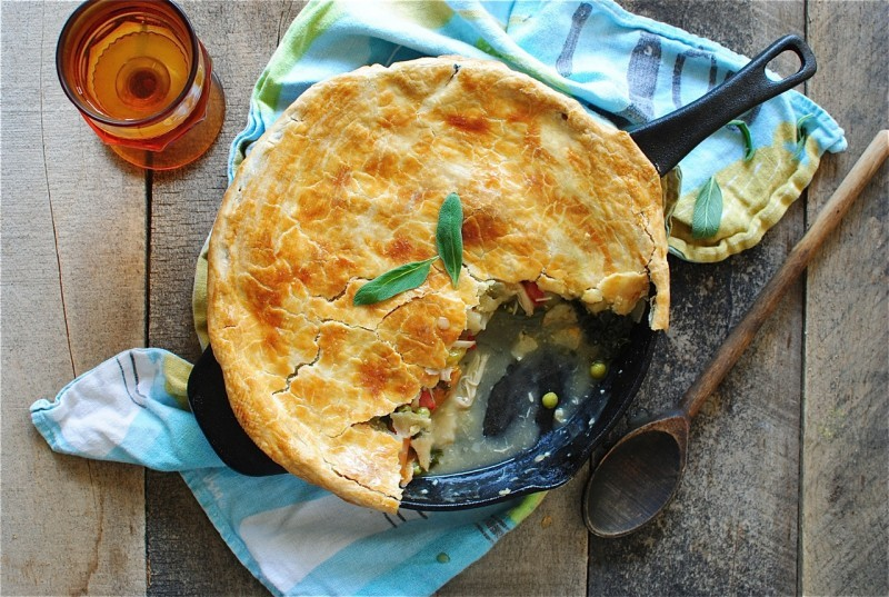 """<strong>Get the <a href=""""http://taste-for-adventure.tablespoon.com/2013/05/30/cast-iron-chicken-pot-pie-with-spring-veggies/"""""""