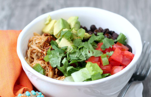 """<strong>Get the<a href=""""http://www.thisgalcooks.com/2013/07/10/slow-cooker-chicken-enchilada-rice-bowls/"""" target=""""_blank""""> Sl"""