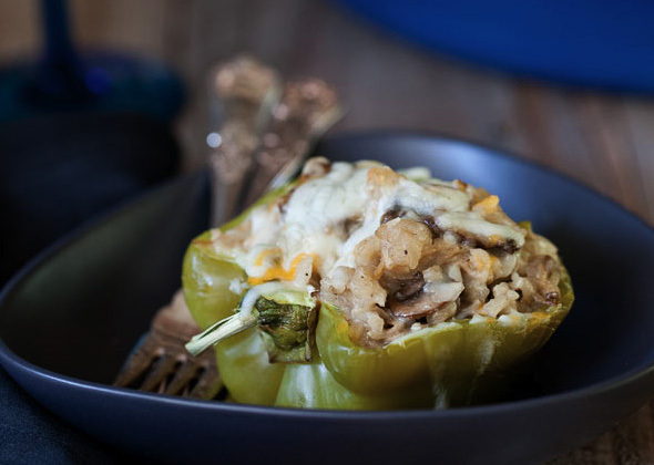 """<strong>Get the <a href=""""http://www.foodiecrush.com/2012/10/chicken-and-mushroom-stuffed-peppers-recipe/"""">Chicken and Mushroo"""