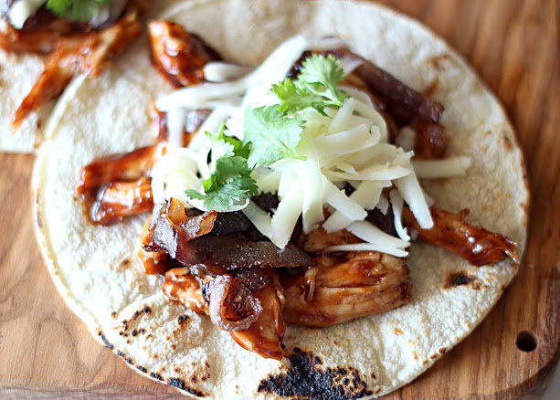 """<strong>Get the BBQ <a href=""""http://www.number-2-pencil.com/2012/08/13/bbq-chicken-tacos-with-caramelized-red/"""">Chicken Tacos"""