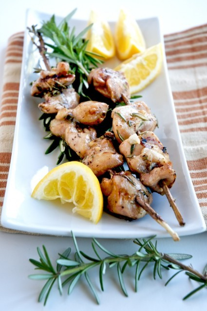 """<strong>Get the <a href=""""http://whiteonricecouple.com/recipes/grilled-chicken-rosemary-skewers/"""">Grilled Chicken Rosemary Ske"""