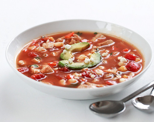 """<strong>Get the <a href=""""http://www.foodiecrush.com/2012/03/spicy-hominy-and-chicken-soup/"""">Spicy Hominy and Chicken Soup rec"""