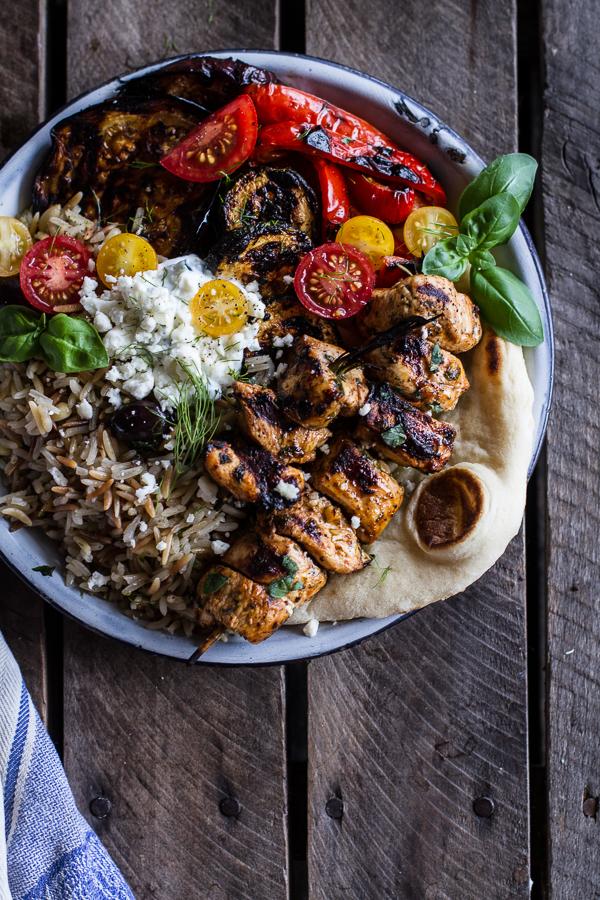 "<strong>Get the <a href=""http://www.halfbakedharvest.com/greek-chicken-souvlaki-rice-pilaf-plates-wmarinated-veggies-feta-tza"