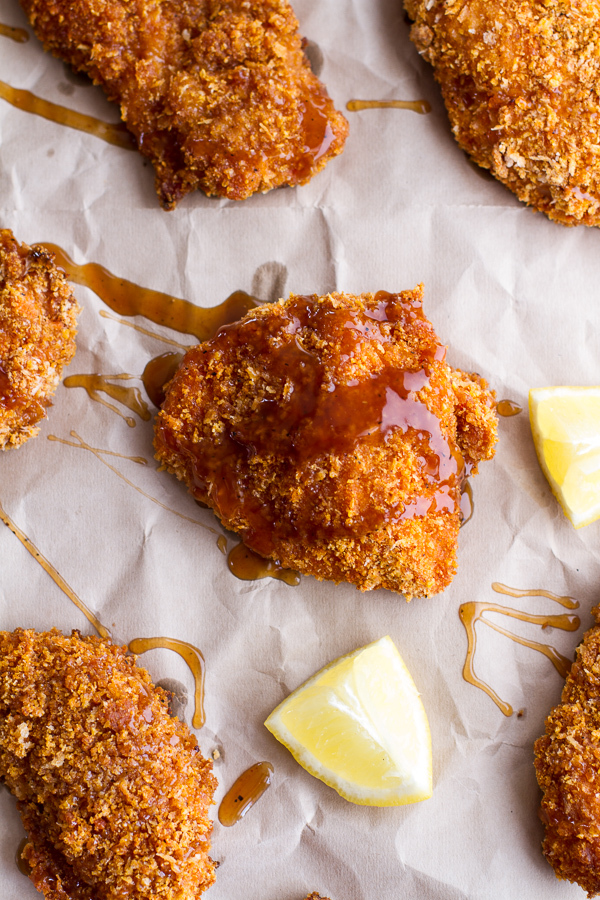 """<strong>Get the <a href=""""http://www.halfbakedharvest.com/oven-fried-southern-chicken-sweet-honey-bourbon-sauce/"""" target=""""_bla"""