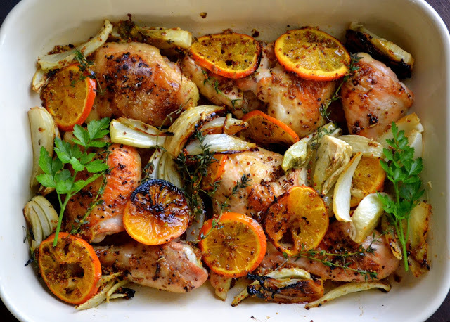 """<strong>Get the <a href=""""http://theviewfromgreatisland.com/2013/03/roasted-chicken-with-clementines.html"""" target=""""_blank"""">Roa"""