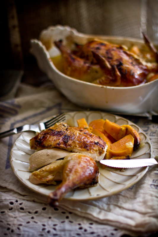 """<strong>Get the <a href=""""http://www.adventures-in-cooking.com/2012/10/roast-chicken-with-yams-oranges-blue.html"""" target=""""_bla"""