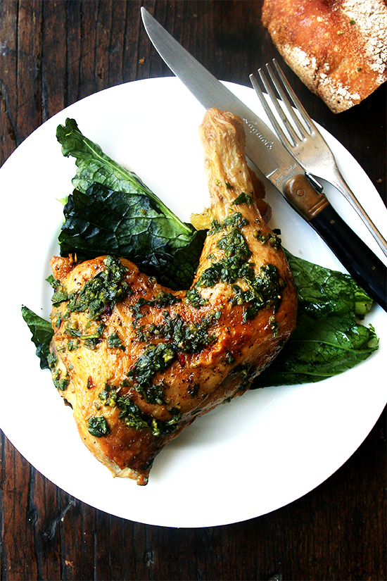 """<strong>Get the <a href=""""http://www.alexandracooks.com/2014/05/14/the-crispiest-spring-chicken/"""" target=""""_blank"""">Crispiest Sp"""