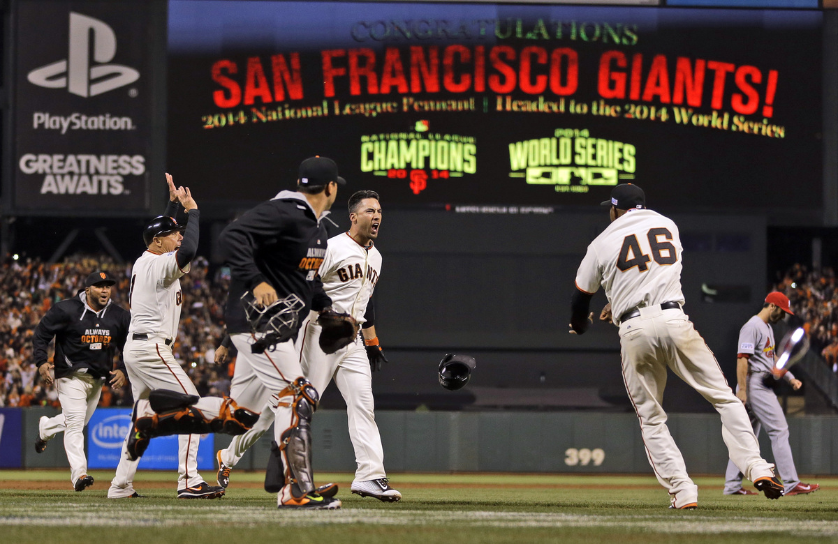 San Francisco Giants Travis Ishikawa reacts after hitting a walk-off three-run home run during the ninth inning of Game 5 of