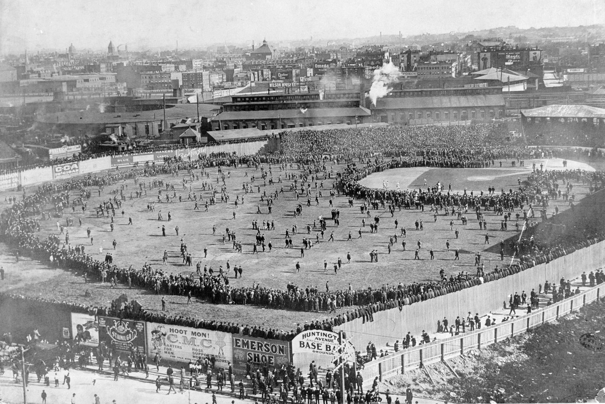 This aerial view shows the Huntington Avenue Baseball Grounds during  the first World Series game between the Boston Pilgrims