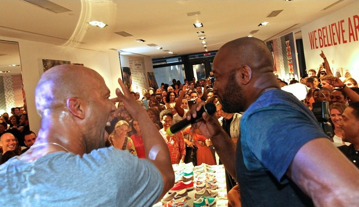 Common and Malik Yoba take the stage at the iconic32  launch.  iconic32  is a lifestyle company and innovation studio that dr